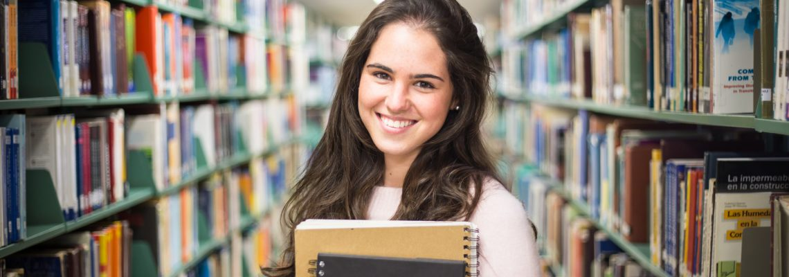 High School Senior in Library